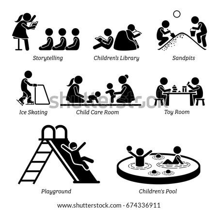 Children Recreational Facilities Activities Pictogram