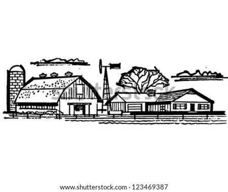 Farmhouse Barn Retro Clipart Illustration Stock Vector