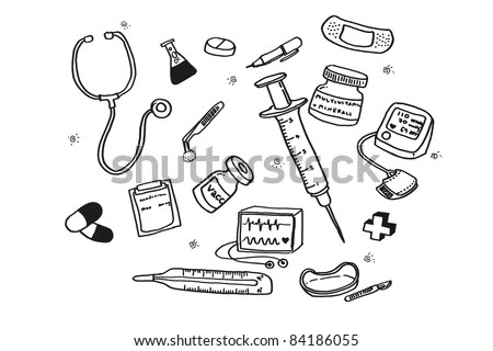 Freehand Draw Doctors Tools Stock Photo (Royalty Free