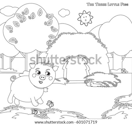 Coloring Pages Cat Dog Birds Stock Vector 559880104