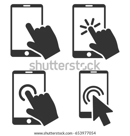 Mobile Phone Hand Pointer Vector Icon Stock Vector