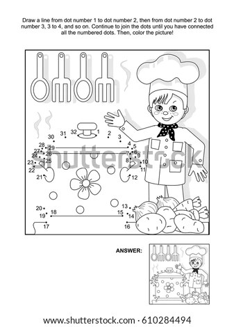 Young Chef Kitchen Connect Dots Picture Stock Vector