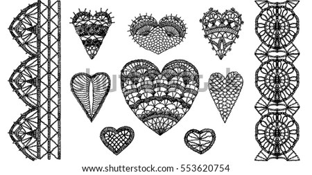 Crochet Hearts Crafts Embroidery Knitting Elements 스톡 벡터