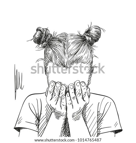 Sketch Teenage Girl Two Buns Hairstyle Stock Vector
