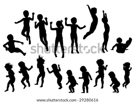 Kids Jumping Silhouette Vector Stock Vector 25691287