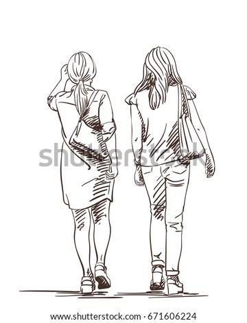 Hand Drawn Two Walking Women Wearing Stock Vector