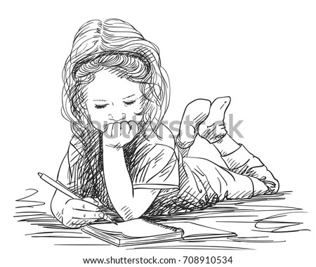 Child Girl Writing Note Book While Stock Vector 708910534