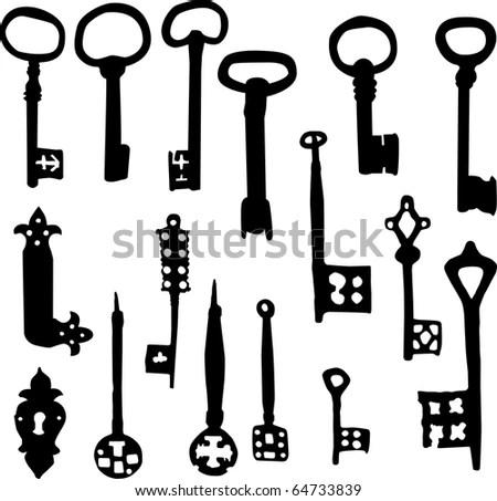 Set Old Fashioned Skeleton Key Vector Stock Vector