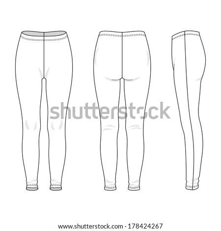 Blank Womens Leggings Front Back Side Stock Vector