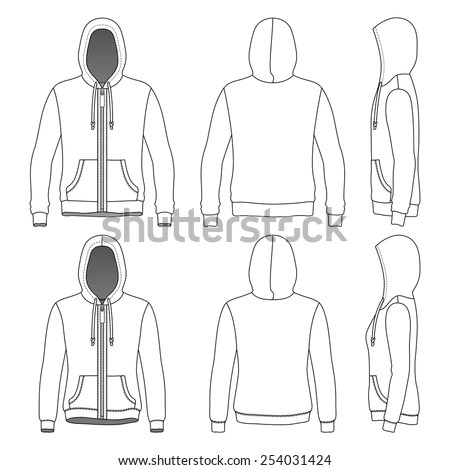 Mens Womens Hoodies Zipper Front Back Stock Vector