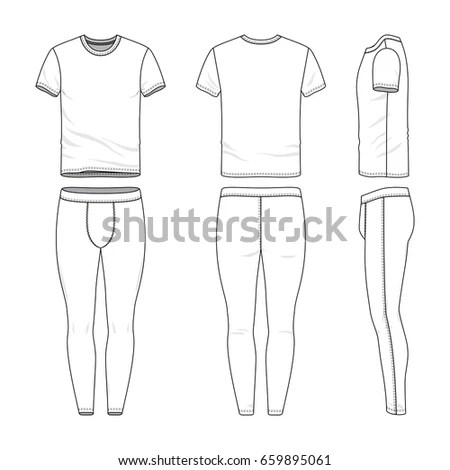 Front Back Side Views Tshirt Training Stock Vector