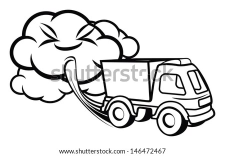 Cartoon Truck Blowing Exhaust Fumes Stock Illustration