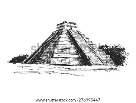 Hand Drawing Maya Pyramid Stock Vector 276995447