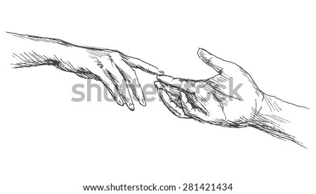 Sketch Touching Hands Stock Vector (Royalty Free