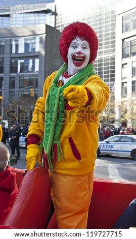 NEW YORK - NOVEMBER 22: Ronald McDonalds character rides on float at the 86th Annual Macy's Thanksgiving Day Parade on November 22, 2012 in New York City. - stock photo