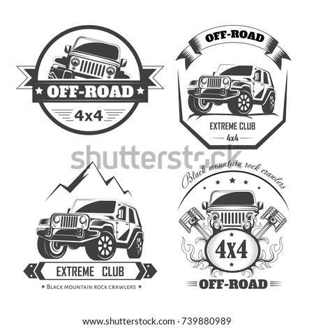 Set Vector Emblems 4x4 Vehicle Offroad Stock Vector