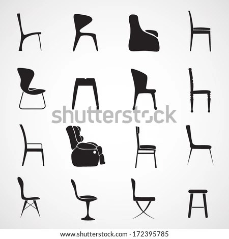 folding chair with umbrella patio fabric replacement icons set side view stock vector 350510693 - shutterstock