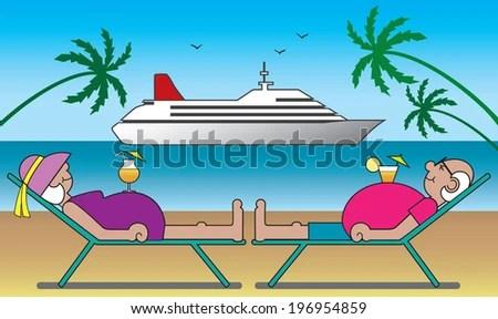 couple cruise ship stock vectors