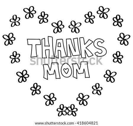Thanks Mom Heart Coloring Page Stock Illustration
