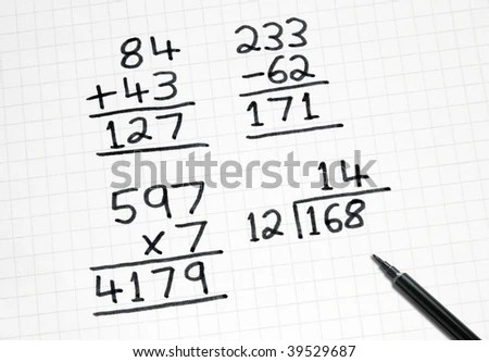 Writing Simple Maths Sums On Square Stock Photo 39529687