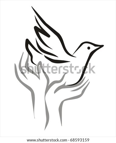 Pigeon Peace Flying Open Hands Sketch Stock Vector