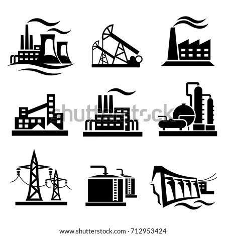 Icons Collection Different Power Plants Factories Stock
