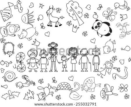 Hand Drawn Cats Cartoon Characters Set Stock Vector