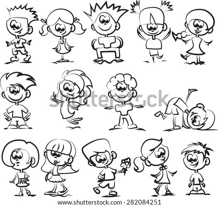 Verbs Action Pictures Cute Monkey Character Stock Vector