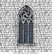 Vector Vintage Illustration Gothic Window Oldfashioned ...