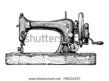 Vector Hand Drawn Illustration Vintage Sewing Stock Vector