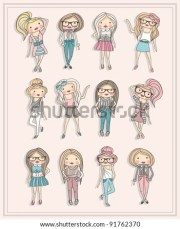 cartoon girls fashion children