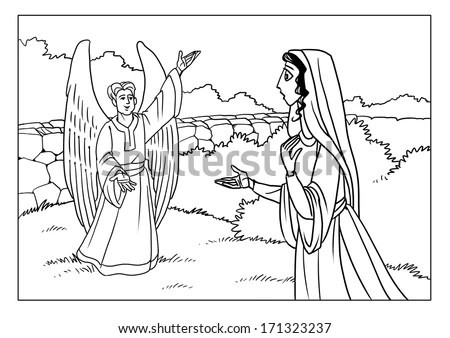 Angel Gabriel Tells Mary About Birth Stock Illustration