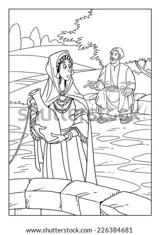 Jesus Talking Samaritan Woman Well Stock Illustration