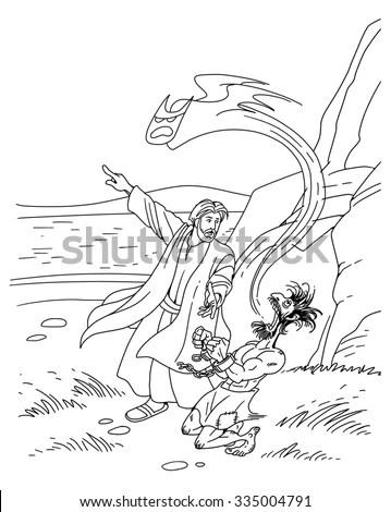 Jesus Heals Demon Possessed Man Coloring Pages Sketch