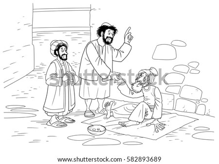 Peter And John Lame Man Page Coloring Pages