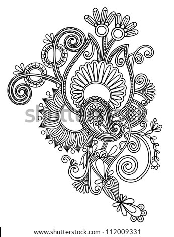 Original Hand Draw Line Art Ornate Stock Ilustrace