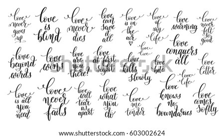 Set 25 Hand Lettering Positive Quotes Stock Vector