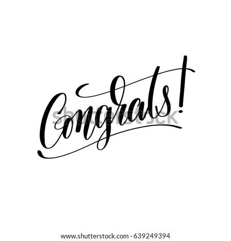 Congrats Black White Hand Written Lettering Stock Vector