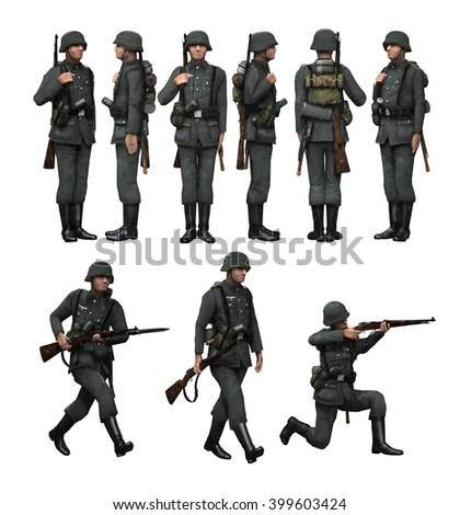 3d Render German Soldier His Rifle Stock Illustration