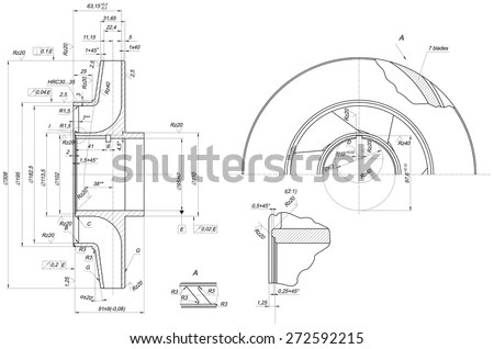Engineering Drawing Components Vector Eps10 Stock Vector