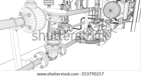 Illustration Equipment Heating System Pipes Shafts Stock