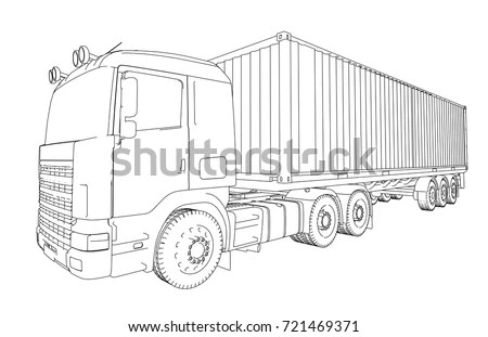 Logistic By Container Truck Vector Rendering Stock Vector