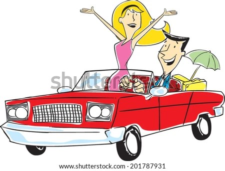 couple in convertible stock vectors