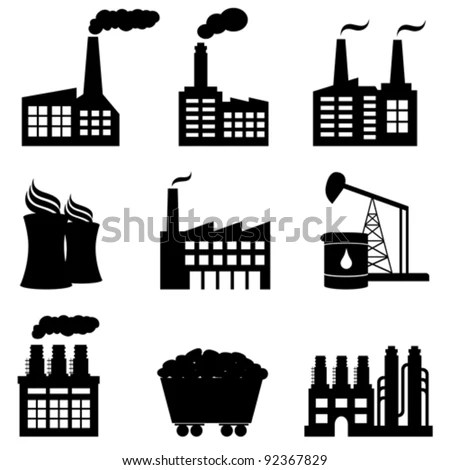 Factory Oil Drilling Nuclear Power Plant Stock Vector