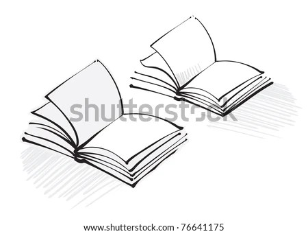 Open Book Icon Freehand Calligraphic Style Stock Vector