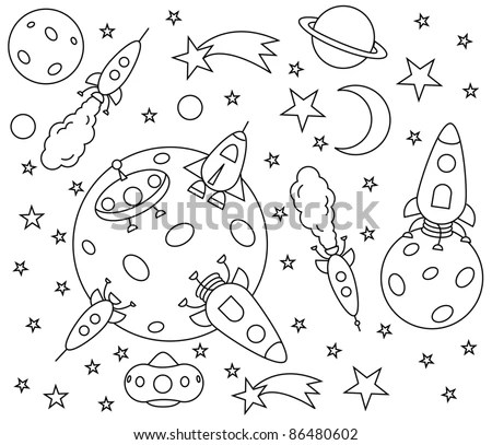 Coloring Book Spaceships Universe Vector Illustration
