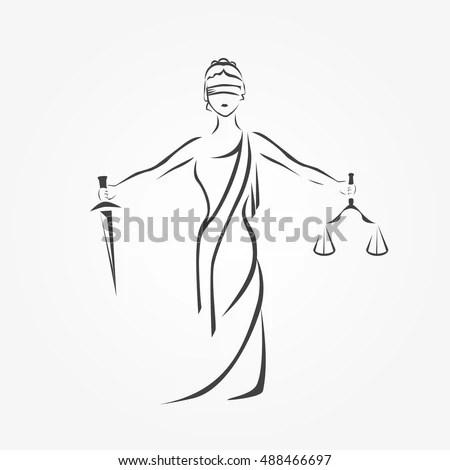 Justice Goddess Themis Lady Justice Femida Stock Vector