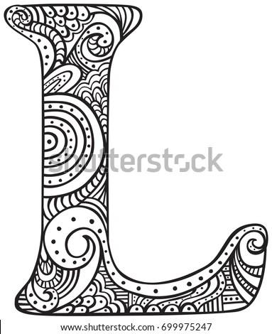 Hand Drawn Capital Letter L Black Stock Vector 699975247