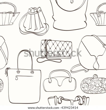 Seamless Women Bag Pattern Can Be Stock Vector 439423414