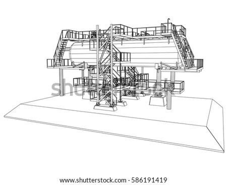Wireframe Oil Gas Industrial Equipment Tracing Stock